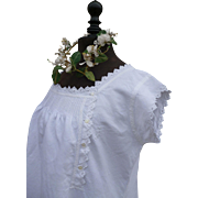 Charming antique French fine linen nightgown : nightdress : hand embroidery  :  monogram: trousseau