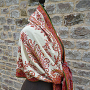 Rare splendid 19th C. cream centered cashmere long stole shawl : floral paisley motifs : Lyon,