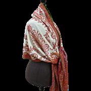 Rare splendid 19th C. cream centered cashmere long stole shawl : floral paisley motifs : Lyon,