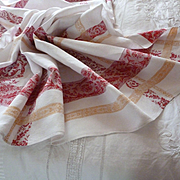Charming antique French red and gold linen damask table cloth : 6 napkins : rose motifs : monogram  MD
