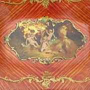 Unusual faded grandeur coral colored papier mache dish  : frolicking cherubs : Napoleon III period