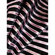 Rare 19th century pink black silk stripe velvet fabric : perfect textile fashion doll clothing confection