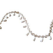Adorable vintage French white trim : passementerie : embellished Lily of the Valley flowers  98 inches
