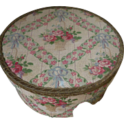 French faded grandeur fabric covered boudoir box : basket roses : bows : 1900's