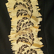 Delicious antique hand embroidered gold metallic netting : foliage motifs : silk fabric : projects