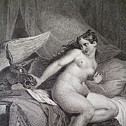 Decorative 19th century engraving classical scene naked young girl : donkey : dated  1825