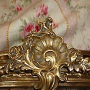 Delicious French boudoir brass bronze bed canopy : corona : Rococo style : circa 1900's