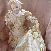 Adorable antique French cream doll's cradle : bed : lace and silk ribbon embellishments