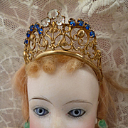 Adorable antique French bejeweled ormolu diadem : crown : tiara : doll size