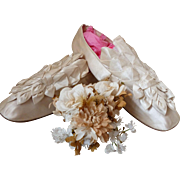 Romantic antique French bride's  cream satin wedding slippers : shoes : ribbon rosettes