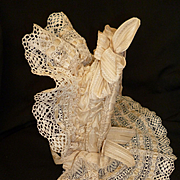 Extravagant frothy antique French doll's cream wired lace bonnet : silk ribbons : bows