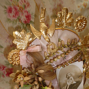 Delicious antique French ormolu pink silk wedding display cushion : wax crown : locks hair : ribbons