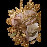 Delicious antique French ormolu pink silk wedding display cushion : wax crown : locks hair : ribbons