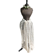 Delicious antique French cream embroidered tulle skirt panel : floral and foliage motifs : projects