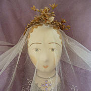 Delicious old French bride's cream tulle lace wedding veil and wax orange blossom crown