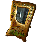 Enchanting 19th C. French miniature display sedan chair vitrine : cherubs : mignonette doll display