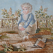 Enchanting antique French silk : chenille : painted miniature embroidery : idle young boy