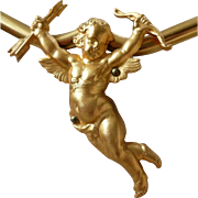 Vintage French presentation shop display : cherub : Cupid : ideal religious medals : rings