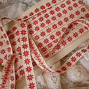 3 yards decorative  French cream ribbon trim red stars : circa 1930's : doll clothing projects