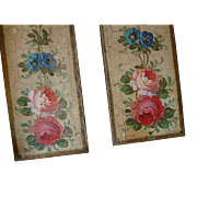 Delicious faded grandeur French hand painted metal door plates : roses : flowers
