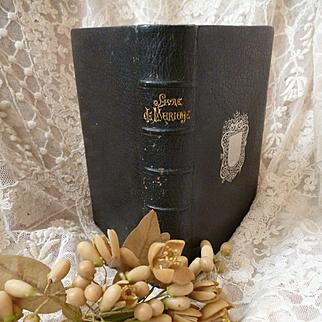 Splendid 19th C. French religious Catholic wedding book : gilding : silk lining : engravings