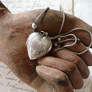 Exquisite 19th C. French small silver ex voto heart : chain : ND de L : crown : reliquaire