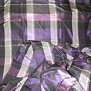 Rare length antique French silk fabric : + 6 yards : projects : black  purple / mauve grey plum colors