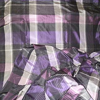 Rare length antique French silk fabric : + 6 yards : projects : black  purple / mauve grey plum colors