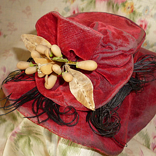 Stylish antique French wired doll's cherry red velvet bonnet : hat  : wax brooch : ostrich feathers