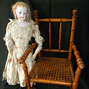 Splendid French doll's wooden hand caned  chair : armchair : 1900's : perfect fashion doll accessory
