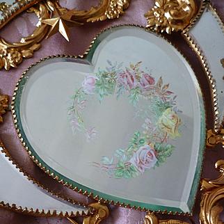 Unusual romantic antique French ormolu wedding cushion : heart mirror : rose wreath : dove