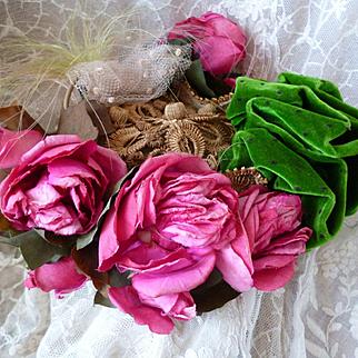 Chic antique French ladies bonnet : hat : Paris label : pink millinery roses : pompom : feather embellishments