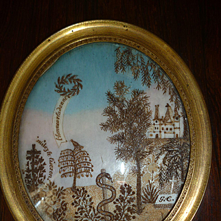 Rare antique French sentimental mourning hair art miniature Chateau  : bird : serpent
