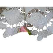 Adorable old French hand made white lace lamp or light shade cover : angels