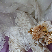 Exquisite 19th C. French bride's hand embroidered muslin wedding shawl : floral motifs