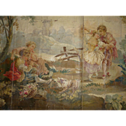 Antique hand painted Aubusson tapestry pattern : cartoon painting : 18th country scene : dog :cherubs