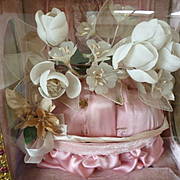 Delicious antique French pink wedding casket : rose crown : wax corsage