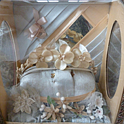 Romantic antique French blue grey & apricot bride's wedding casket : cabinet : crown : bisque flower bouquet