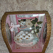 Faded grandeur French blue & pink wedding display casket : cabinet : ribbon bows : bisque flowers