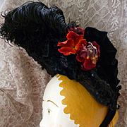Tres chic antique French black ladies bonnet : hat: millinery bouquet : sequins : beads tulle