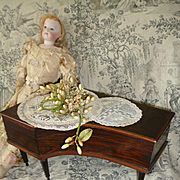 Adorable 19th C. French miniature harpsichord piano sewing box : ideal doll accessory