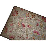 Delicious French fabric covered box : exotic bird , floral , foliage motifs : metallic trim