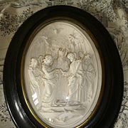 Decorative 19th C. French framed wedding ceremony plaque : angels : cherubs : Saint Esprit