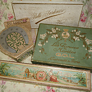 Batch decorative old French empty shop boxes : envelope : corset : wedding crown : collars