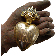 French religious ormolu flaming sacred heart : IHS :  Christ : ex voto : dated 1896