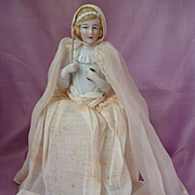 Adorable French doll candy container : china bust young girl : first communion