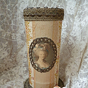 Unusual French fabric covered boudoir box : medallion Marie Antoinette : metallic trim : hat pins