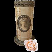 Unusual French fabric covered boudoir box : medallion Marie Antoinette : metallic trim : hat pins