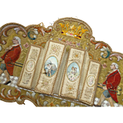 Decorative antique French embroidered wall pocket : crown : sedan chair : hand made
