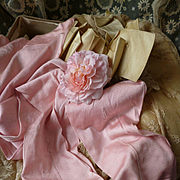 Delicious pair old rose pink ladies silk stockings, circa 1900